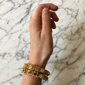 🔥 Set of 2 Vintage Gold Tone Cabochon Bracelets